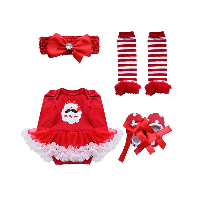 Baby Infant Girls Christmas Romper Newborn Baby Girl First Birthday Dress Role-play Party Wear 0-9 Months Toddler Girl Dress