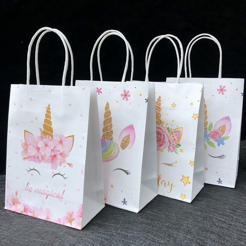10Pcs/Lot Unicorn Paper Gift Bags Party Bag For Baby Shower Birthday Party Decor Candy Box Favors Event Party Supplies
