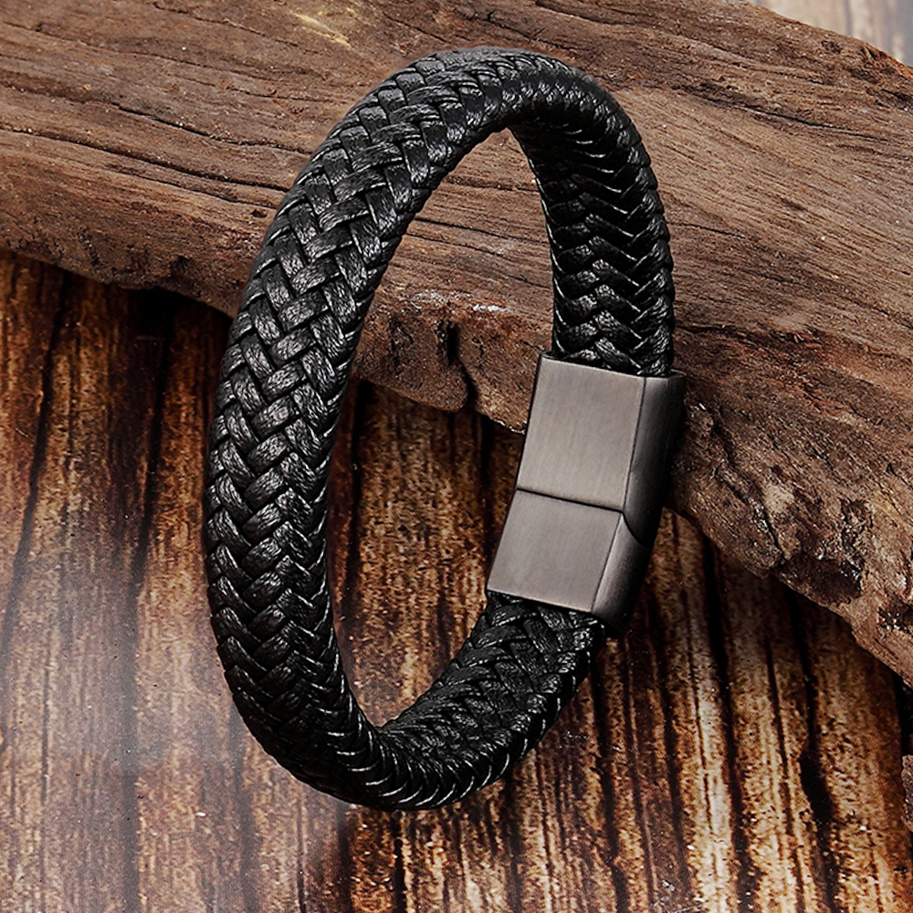 Fashion Genuine Leather Braid Bracelet Punk Stainless Steel Bangle Magnetic Clasp Black Brown Rope Chain for Men Jewelry