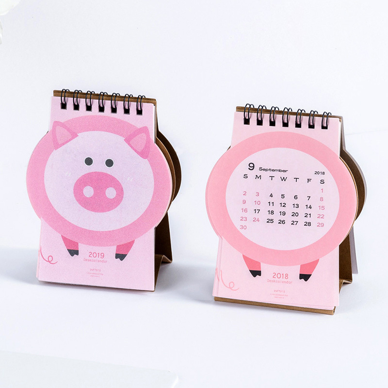 Kalender 2019 Nette Cartoon Rosa Piggy Schreibtisch Kalender Diy Mini Tisch Kalender Täglichen Zeitplan Planer 2018,09 ~ 2019,12