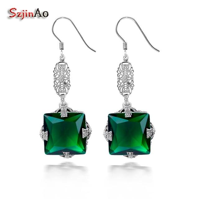 Szjinao 100 Handmade 925 Sterling Silver Earrings May Birthstone Emerald Indian Jewelry Vintage Long Drop