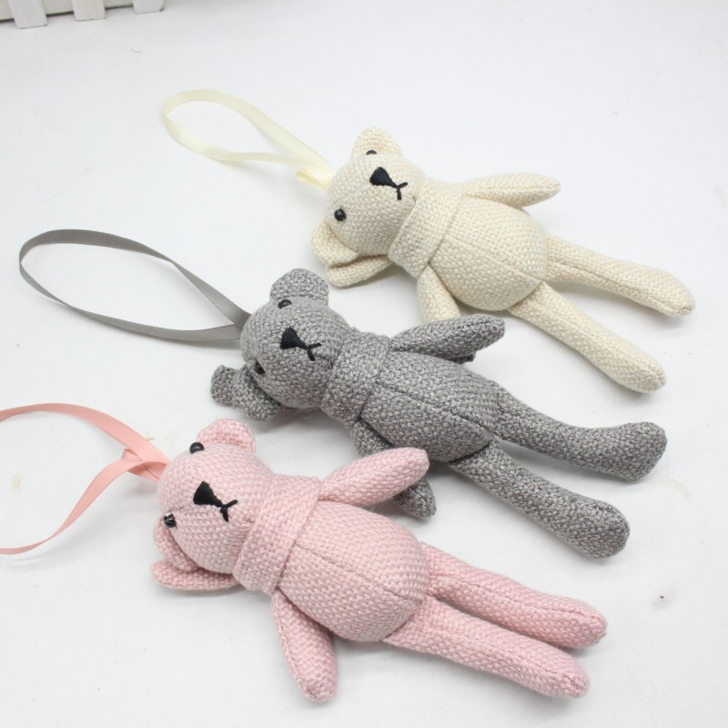 16cm Plush Toys linen Teddy Bear Rabbit Soft Stuffed Animal Toys Small Pendant By Phone Bags Keychain Gifts For Wedding