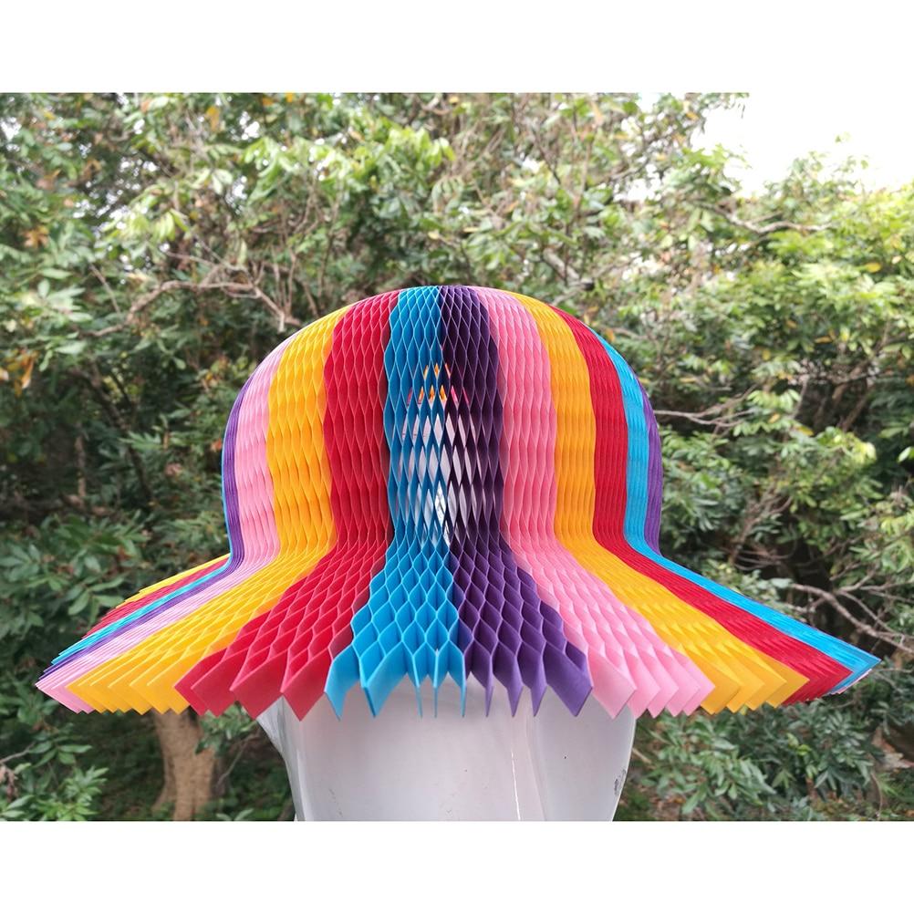 Rainbow Color Honeycomb Paper Origami Sun Hats Folding Vase Hat Party Favors DIY Caps