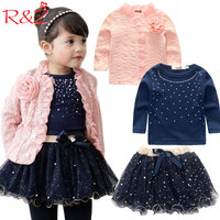 Free Shipping 2016 Spring Baby Girls Clothing Sets 3 Pieces Suit Girls Flower Coat Blue T