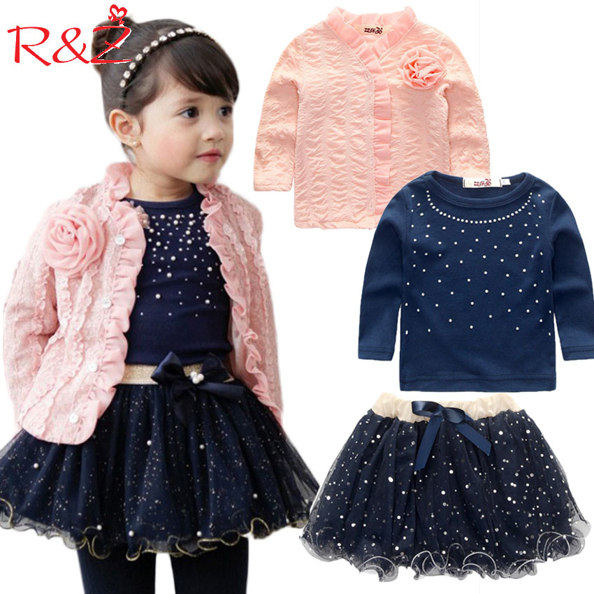 2017 spring baby girls clothing sets 3 pieces suit girls flower coat + blue T shirt + tutu skirt girls clothes free shipping 2016 spring girls clothes girls clothing sets new arrival female child flower print o neck pullover short skirt set baby twinset