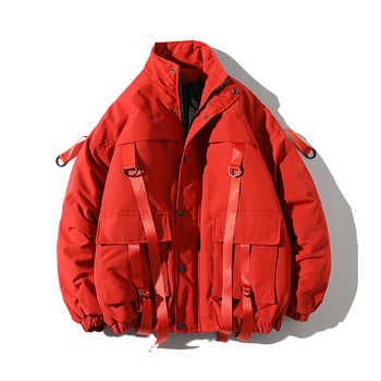 drop shipping Men Winter Jacket Coats Casual Windbreaker Mens Parka Hip hop Bandage design Coats Man Streetwear Outwear ABZ59 - DISCOUNT ITEM  49% OFF All Category