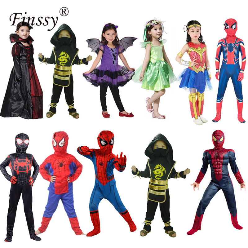 Spider Super Man Girls Cosplay Costume Wonder Woman Captain Marvel Elf Princess Halloween Carnival Party Performance Costume