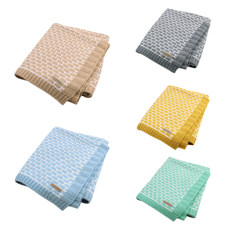 Newborn Baby Wrap Muslin Swaddle Blanket Plaid Knitted Toddler Infant Basket Bedding Cover Spring Fall Unisex Blanket Super Soft