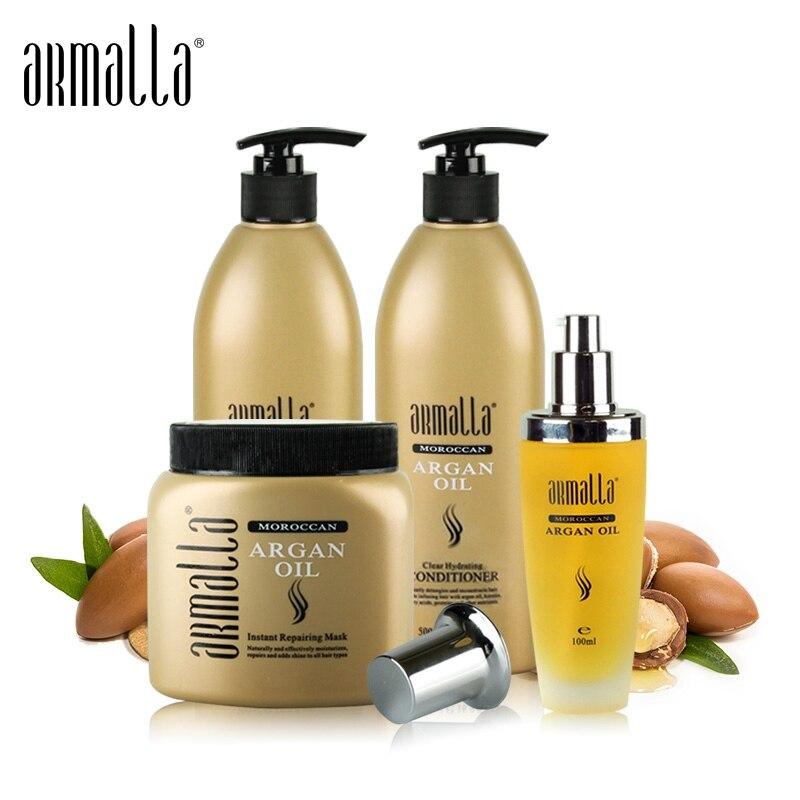 4pcs Armalla 500ml Profissional Natural Shampoo+500ml Deep Conditioner+500ml Morocco Argan Oil For Hair Mask+100ml Argan Oil Set