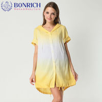 BONRICH 2017 Cotton Linen Dress Short Sleeve Stylish Fashion Casual Loose Gradient Color Hooded Dress Bottom