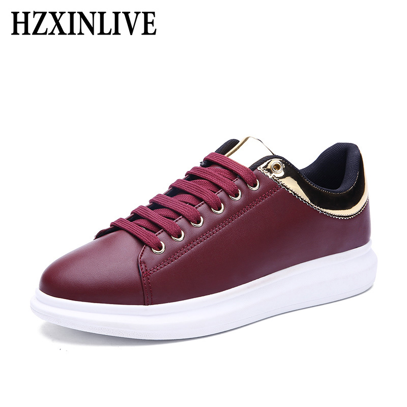 e050b59e54fa59 HZXINLIVE 2018 Women Vulcanized Shoes Sneakers Couple Lace Up Red Basket  Shoes Breathable Walking Bling Leather Casual Flats-in Women s Vulcanize  Shoes from ...
