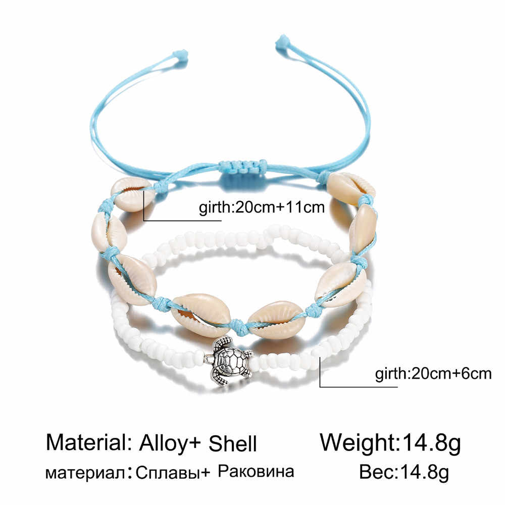 MLING Bohemian Shell Anklet For Women Vintage Double Layer Anklet Tortoise  Anklet Fashion Summer Beach Jewelry