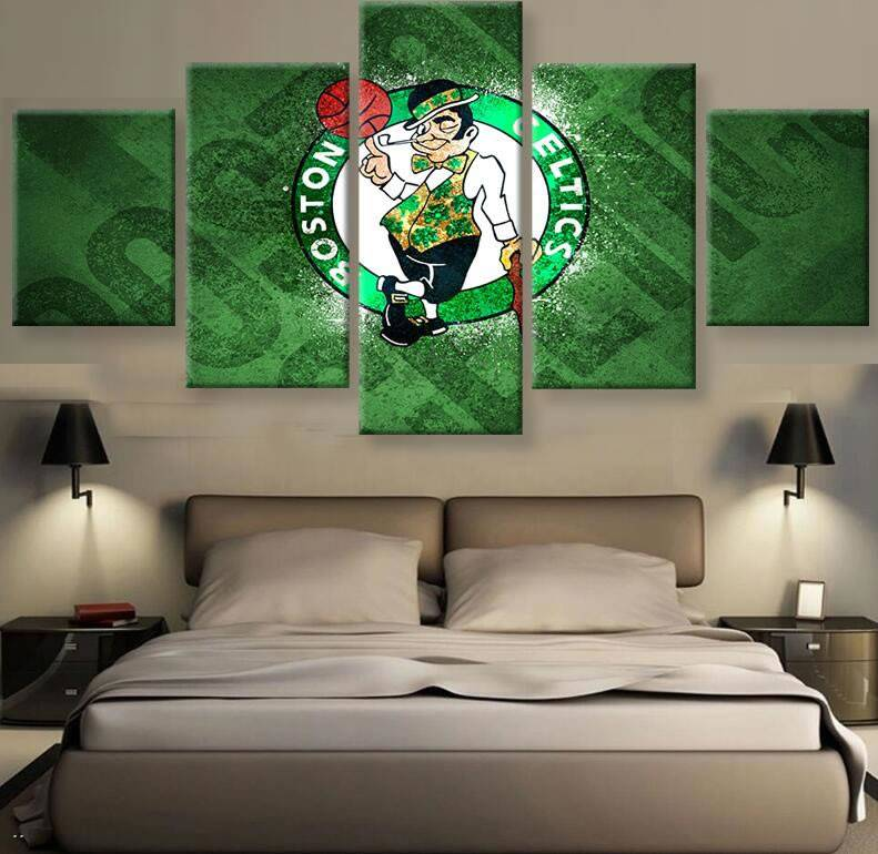 5 Piece Boston Celtics Logo Canvas Painting Wall Art Prints Home Decor Picture Panels Poster For Living Room Bedroom Decor Frame