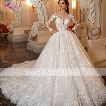 Fsuzwel Gorgeous Appliques Chapel Train Lace Ball Gown Wedding Dress 2019 Sexy Scoop Neck Long Sleeve Beaded Princess Bride Gown 3