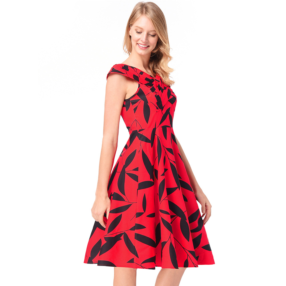 style women's clothing, European and American explosion, Hepburn, little red dress, cross knitting, sleeveless dress.