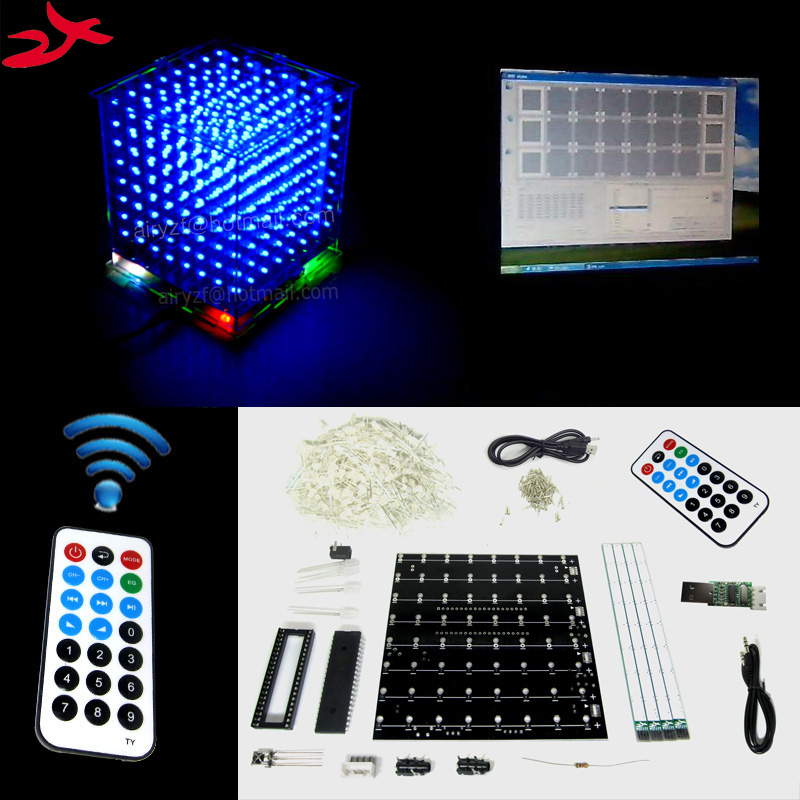 zirrfa Christmas Gift 3D 8S mini Light cubeeds remote with animation Effects 3D8 8x8x8 LED Music