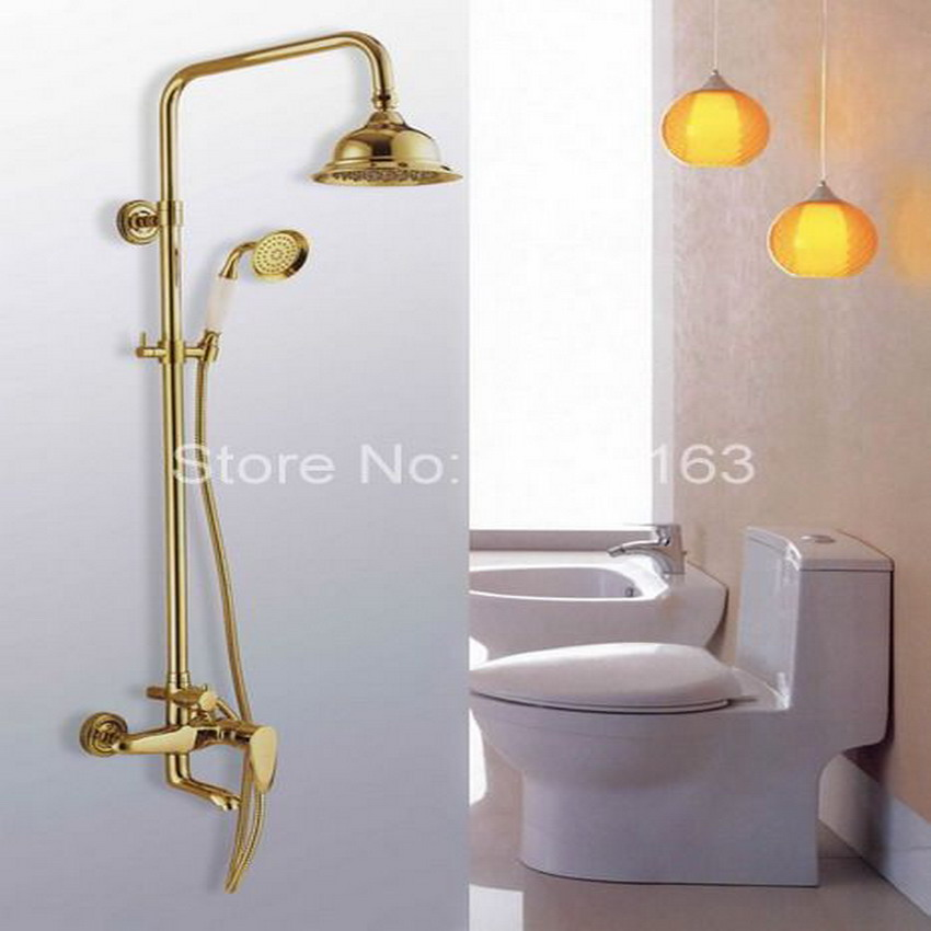 Luxury Gold Color Polished Brass Wall Mounted Single Handle Bathroom Rain Shower Faucet Set And