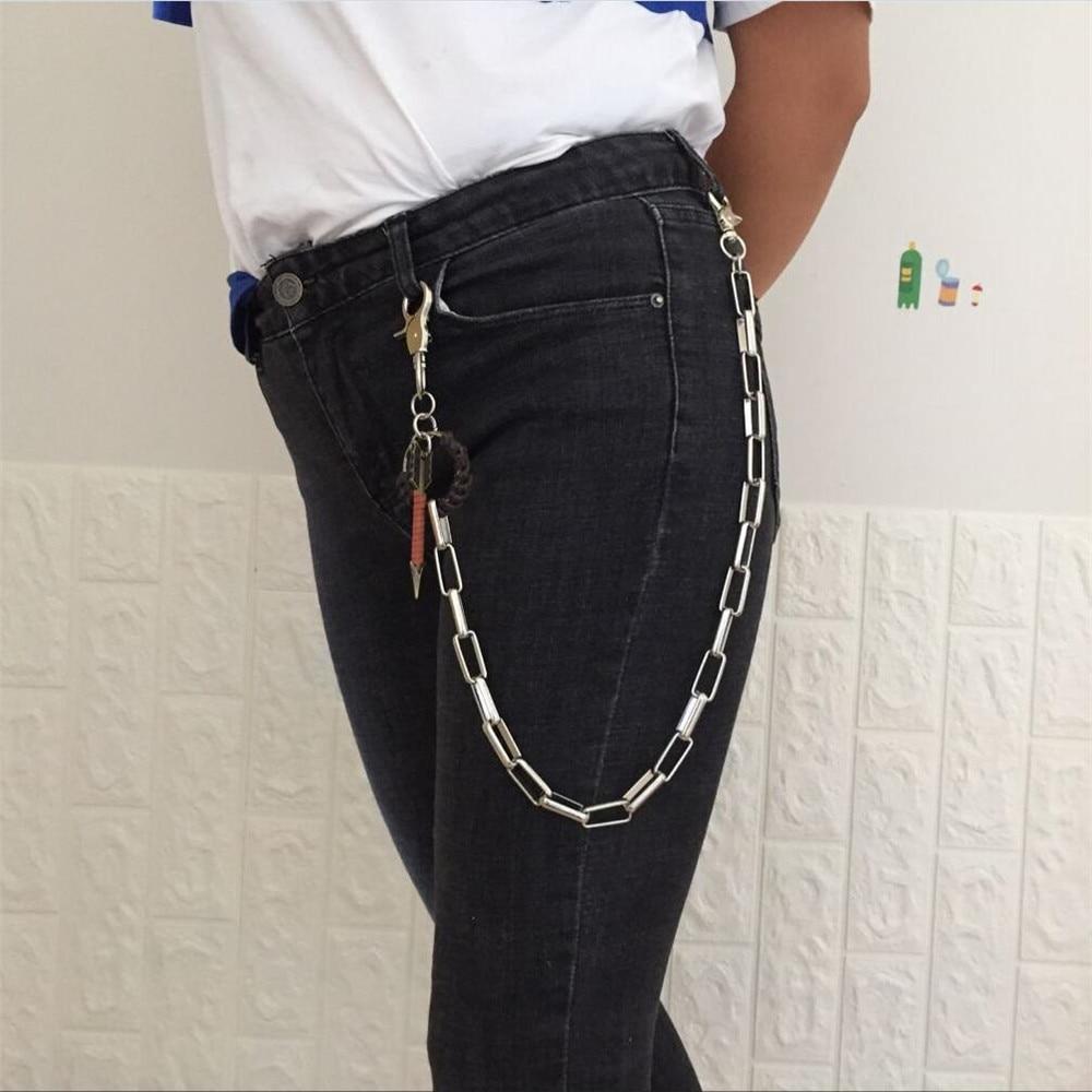 Fashion punk  hip-hop trendy belt waist metal chain pants mens jeans metal chain