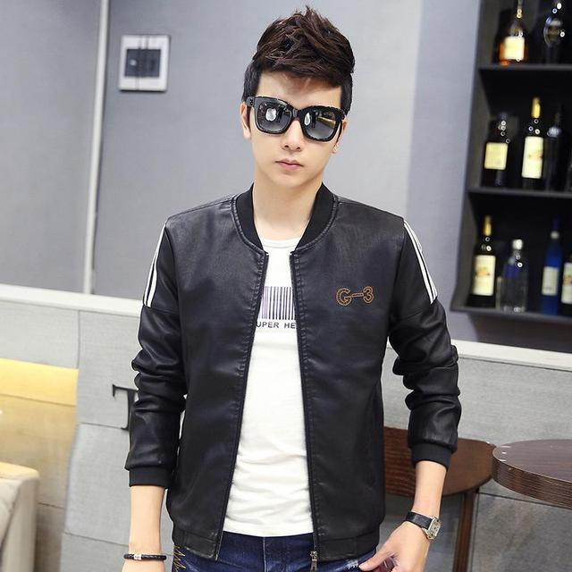 New 2017  Winter Explosion Of Men's Pu Leather Motorcycle Jacket Slim Collar Men's Fashion Casual Jacket Free Shipping