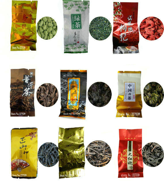 9 Different Flavors Famous Tea Chinese Tea Oolong Green Goji herbal puer Black Tieguanyin Lapsang souchong DahongpaoTea gift
