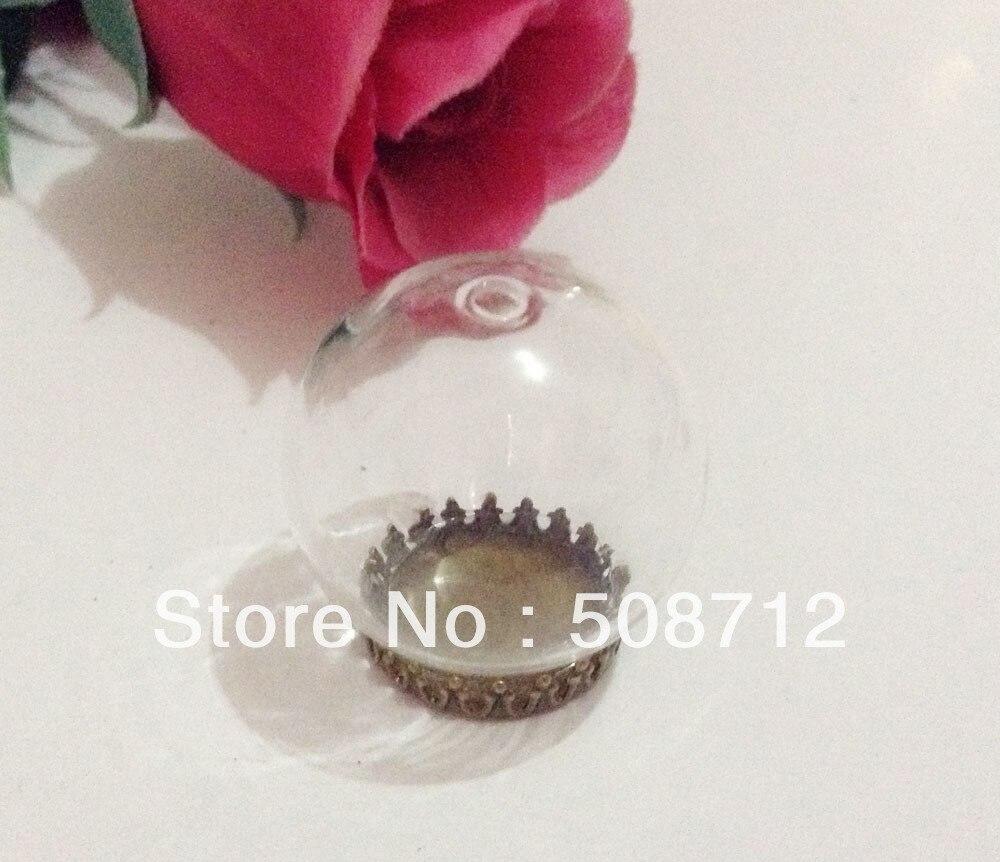 Free shipping!GGP0005 30mm Glass Globe Pendant Locket Charm opening 20mm + bronze crown pendant base