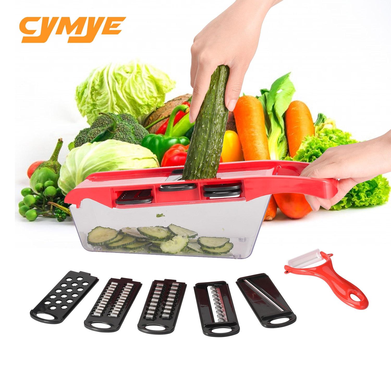 Coupeur multifonctionnel de légume de trancheuse de mandoline de cuisine de Cymye manuel avec l'acier inoxydable