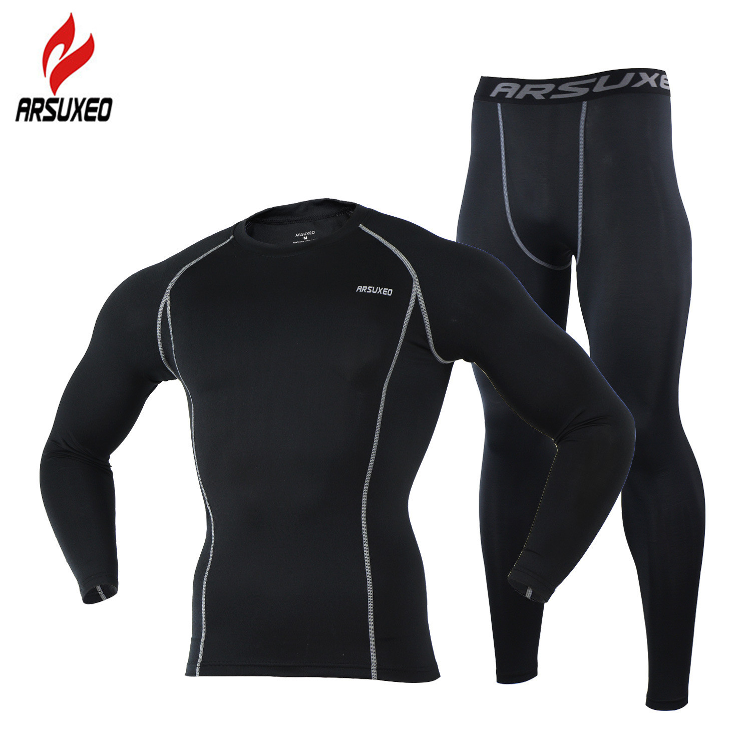 ARSUXEO Mens Compression Set for Running Jogging Sports Gym Fitness Tights Workout Crossfit Suits Long Shirt and Leggings Pants-in Running Sets from Sports & Entertainment on AliExpress