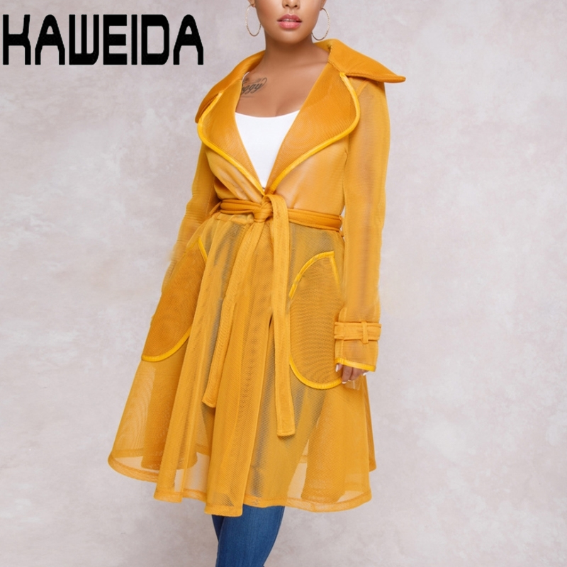 Mesh Sheer Long Trench Coat For Women Transparent Turn Down Collar Sashes Trench Female Casual Winter Coat Women Outwear
