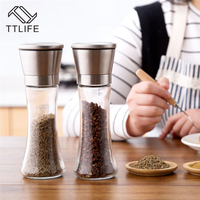 TTLIFE 2pc Stainless Steel Pepper Grinder Manual Salt Pepper Mill Glass Bottle Spice Tools Kitchen BBQ Accessaries