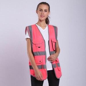 Image 2 - Gilet de sécurité pour femmes, uniformes de travail pour haute visibilité avec poches, rose