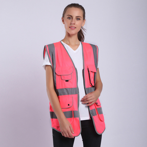 Image 2 - Pink Safety Vest Women High Visibility Work Clothes Uniforms With Pockets