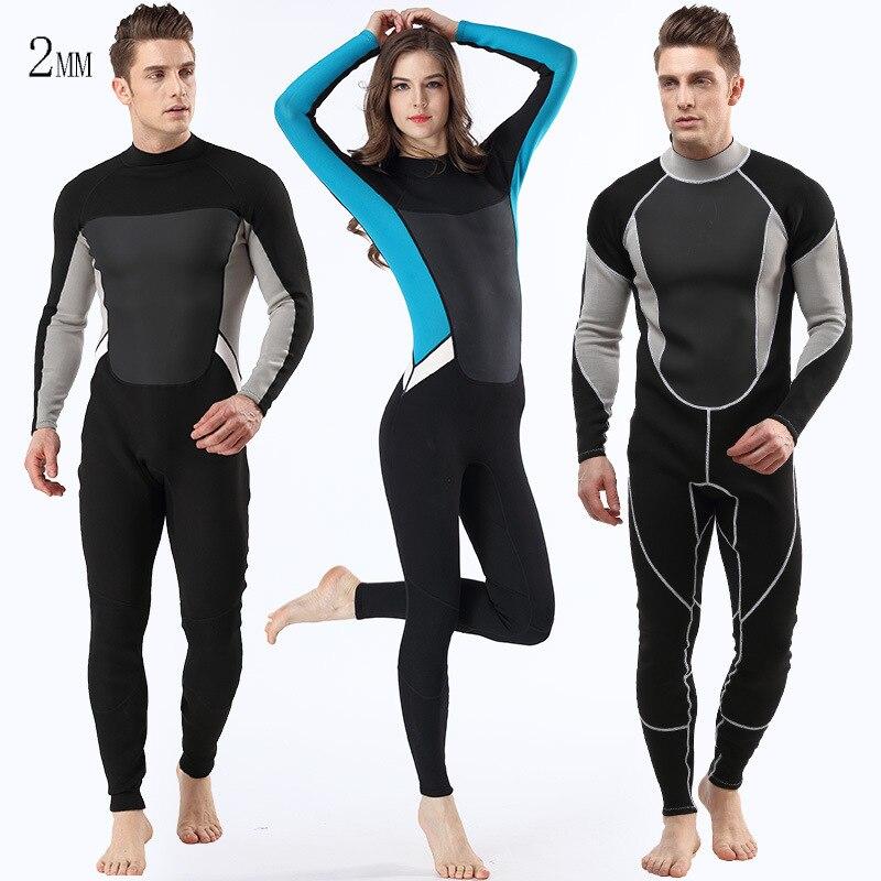 Hommes femmes 2mm néoprène complet combinaison à manches longues cerf-volant surf planche à voile maillots de bain nautisme plongée sous-marine costume chasse sous-marine - 6