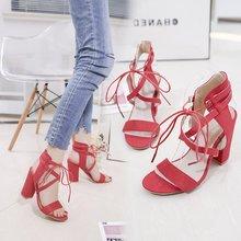 Plus Size Women Sandals Shoes 2019 Fashion Bandage Sexy High Heels Square Pumps Female Suede Sandalias