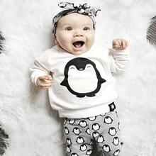 Fashion Baby Girl Clothes 2PCS(Cute Penguin Print Long Sleeve Tshirt+Pants) Baby boy girls Clothing Set Newborn Baby Boy Clothes