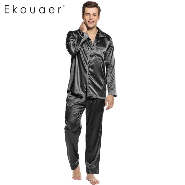 c314102d35 Ekouaer Men Pajamas Set Long Sleeve Sleepwear Turn Down Collar Nightwear  Homewear Polyester Satin Pajamas Size S M L XL