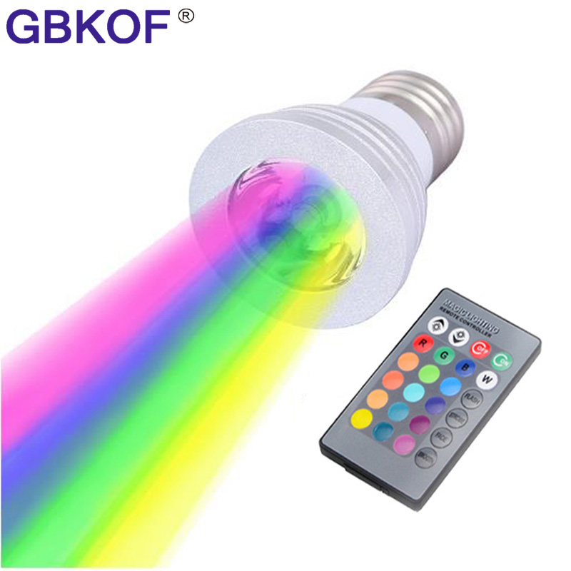 Christmas Lamp Dimmable GU10 E14 E27 RGB LED spotlight 110V 220V 16 Colors 3W RGB LED bulb Lamp + 24keys IR Remote Control ...