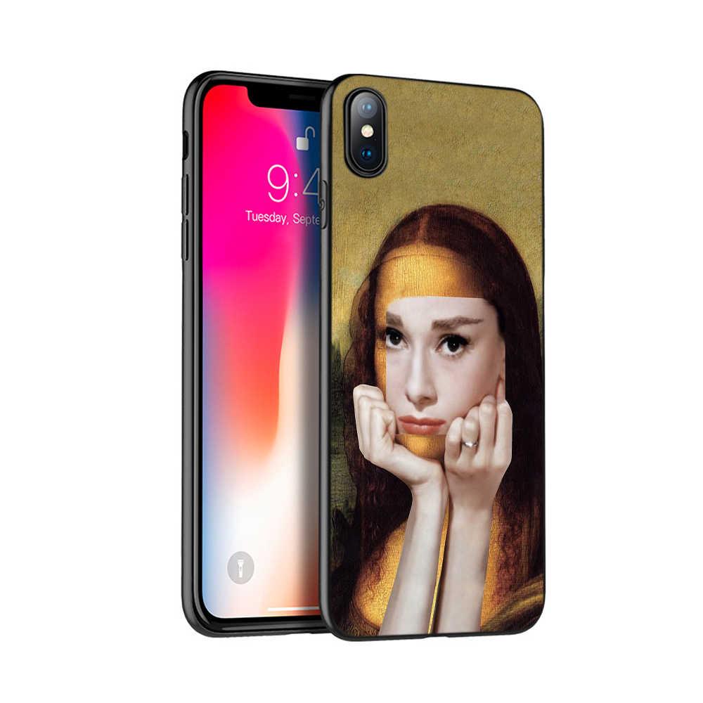 กรณี TPU สีดำสำหรับ iPhone 5 5s SE 2020 6 6 S 7 8 PLUS x 10 กรณีซิลิโคนสำหรับ iPhone XR XS 11 PRO MAX กรณี Mona Lisa รูปแบบ