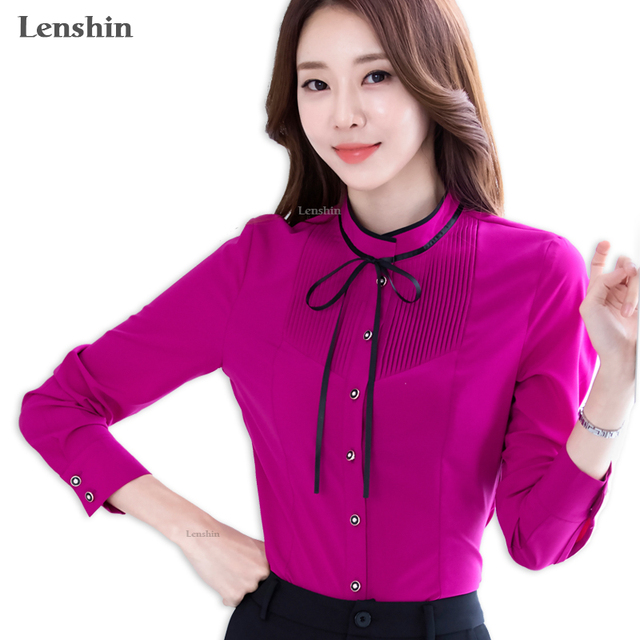 8ad17a879a1c Lenshin Pleated Shirt with Tie Work Wear Office Lady Bow Shirts Female  Ruffle Blouse Tops Chemise