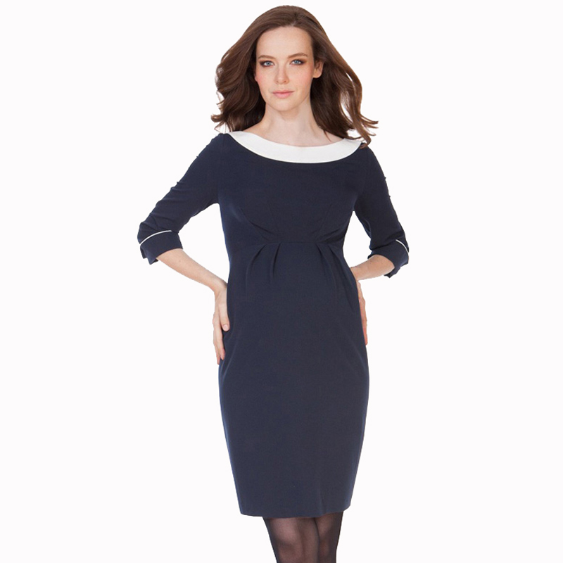Charming Vintage Black Dress with Bateau Neckline for Pregnant Women Fashion 3/4 Sleeved Knee Length Maternity Wrap Dresses
