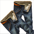 2016 Men's Jeans Slim Straight Jeans Fashion Casual Pants Plus Size Wash Jeans Slim Elastic Jeans Size:28-38 Free shipping
