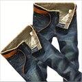 2016 calças de Brim dos homens Jeans de Lavagem de Jeans Reta Magros Moda Calça Casual Plus Size Magro Calça Jeans Elásticos Tamanho: 28-38 Frete grátis