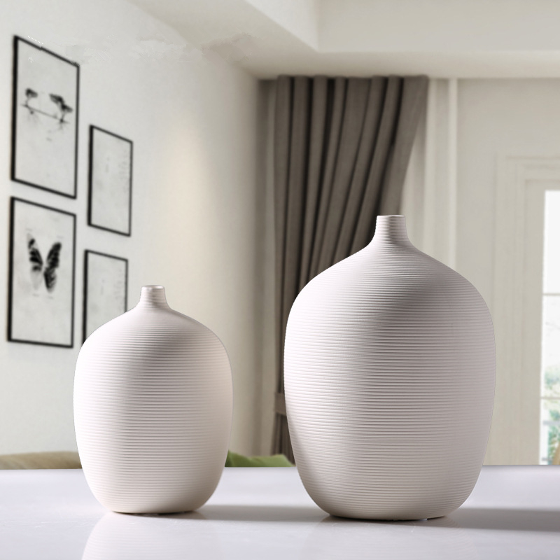 2018 New Modern Style Chinese Porcelain Vases White Thread Ceramic Vases for Wedding And Home Decoration Office Flowers 22