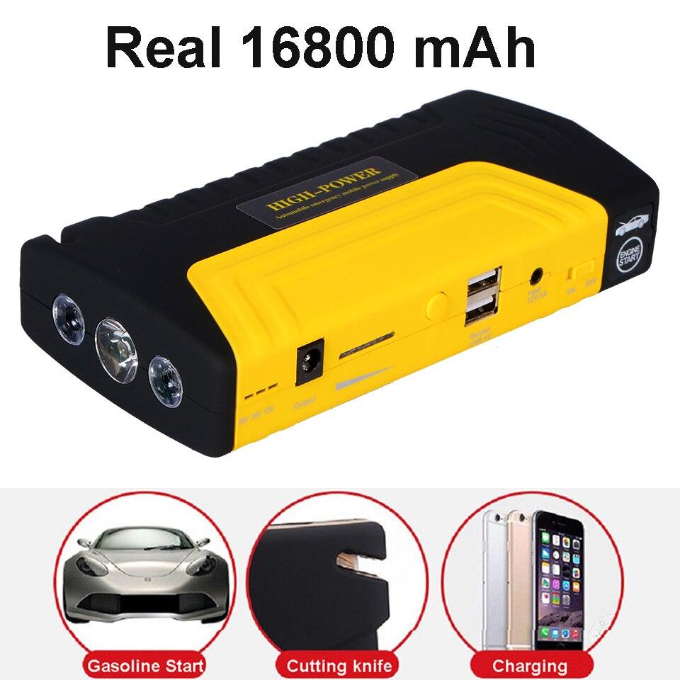 Multi-fonction saut démarreur 600A 16800 mAh haute puissance chargeur de batterie double USB véhicule saut démarreur Booster voiture démarrage dispositif