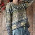 Harajuku japonesa Mori Chica Vintage Gypisy Retro Bohemio Delgado Flojo Ocasional Floral Apliques Pullover Mujeres Suéter Tejido