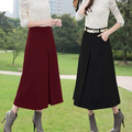 2016 New arrival autumn winter women's long skirt fashion high waist wool skirt solid color maxi skirts