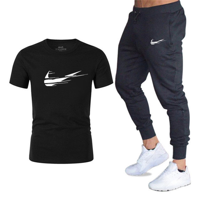 2019 New Men's Sets   T     Shirts  +pants Two Pieces Sets Casual Tracksuit Male Casual   T     shirt   Gyms Brand Fitness trousers men   T     shirt