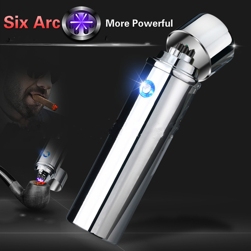 Newest Design 6 Arc Lighter More Powerful USB Rechargeable Electric Plasma Pulse Lighters for Smoke Cigarettes Tobacco Pipe