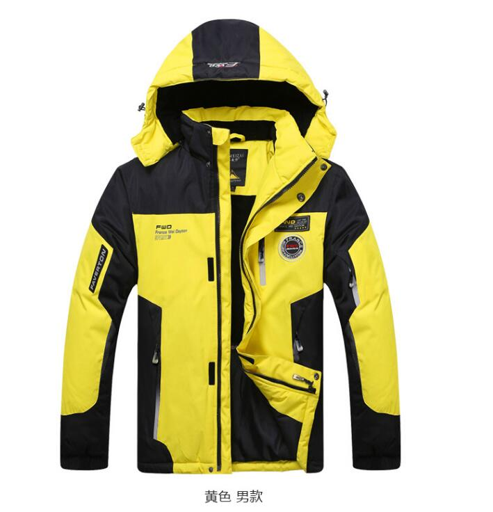 2017 Softshell Outdoor Jacket Men Women Lovers Winter Waterproof Windproof Hiking Jacket Fleece Hooded Mountain Wear Yellow Red men women winter waterproof mountain clothes climbing hiking overcoats thicken fleece lined warm outwear jacket coat for lovers