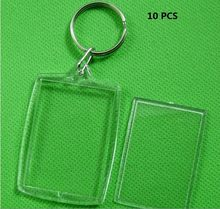 JETTINGBUY 10pcs New Arrival Brief Transparent Blank Insert Photo Picture Frame Key Ring Chain Split Ring KeyChain Wholesale(China)