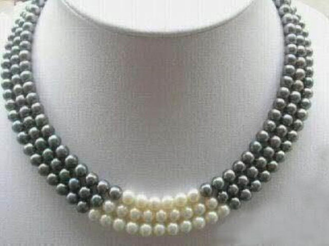 "3Rows 7-8MM Black White Natural Pearl Necklace 17-19"" Noble style Natural Fine jewe FREE SHIPPING"